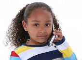 picture of cute kids  - Beautiful Six Year Old Girl Speaking On Cellphone Over White - JPG