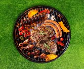image of barbecue grill  - Barbecue grill with various kinds of meat - JPG