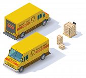 foto of truck-stop  - Isometric mail step van front end rear view - JPG