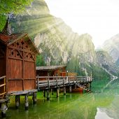 pic of lagos  - Boathouse at the Lago di Braies in Dolomiti Mountains  - JPG