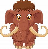 image of mammoth  - Vector illustration of Cartoon cute mammoth isolated on white background - JPG