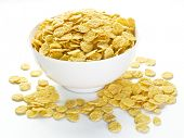 stock photo of cereal bowl  - Cornflakes cereal in the white bowl - JPG
