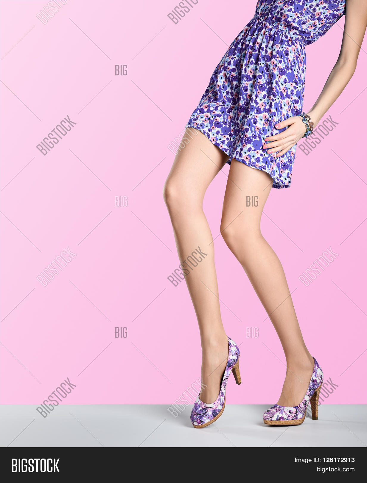 Purple Flower Heels