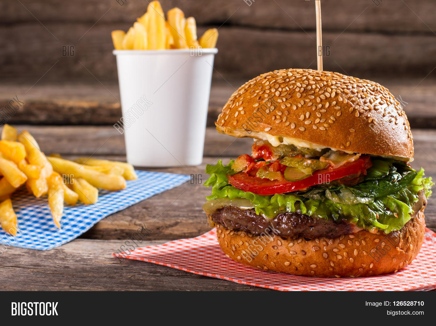 French fries big burger junk food image photo bigstock for Table burger