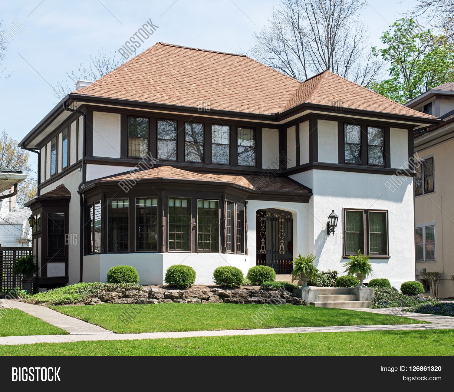 Older Stucco Home With Brown Trim Stock Photo Amp Stock