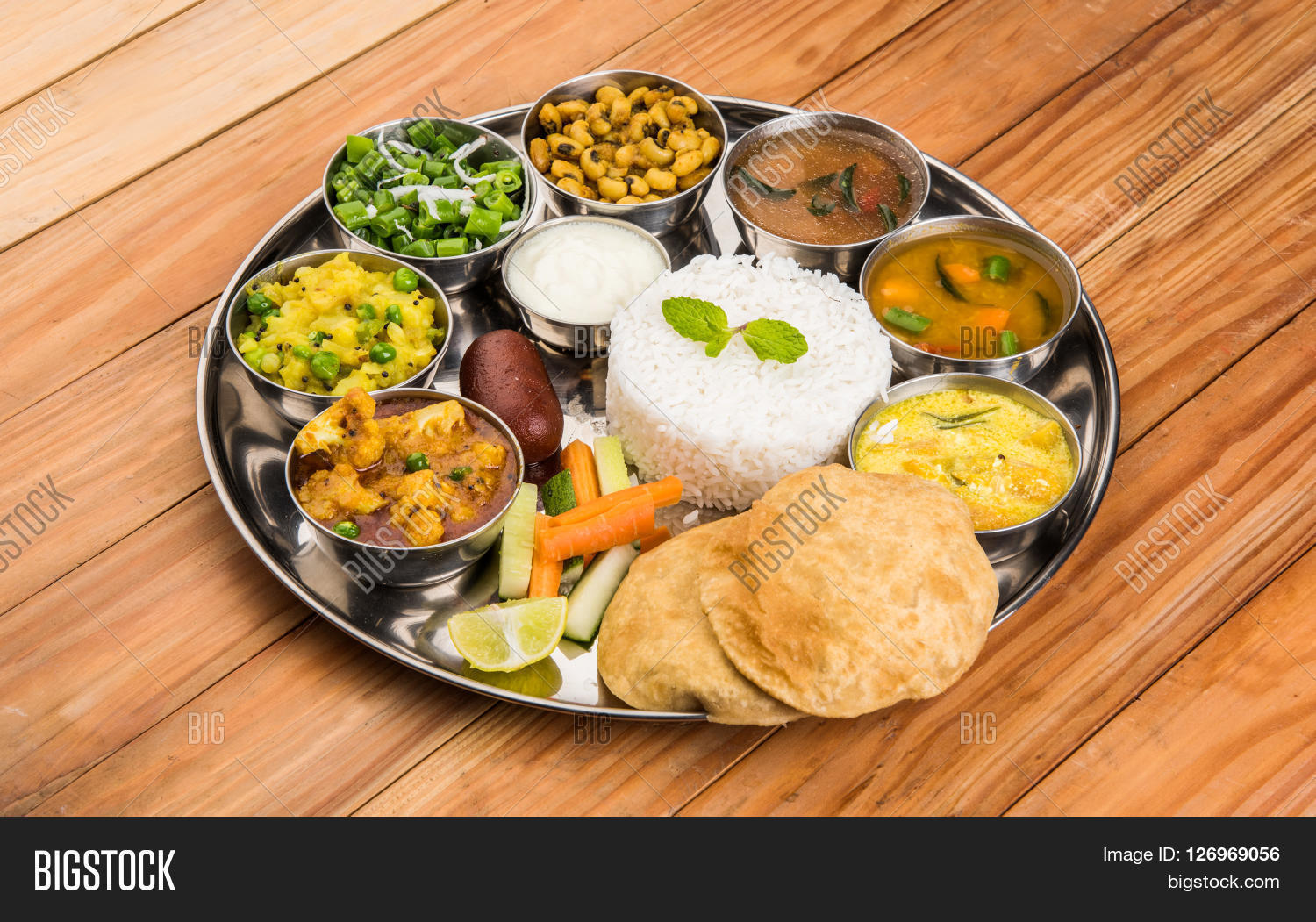 Group of indian food or indian thali south indian thali for Cuisines completes