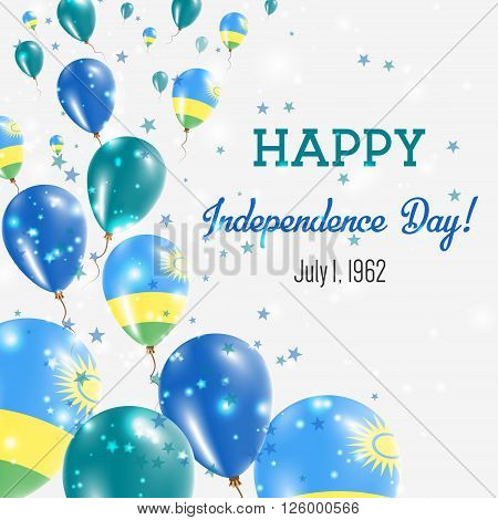 Rwanda Independence Day Greeting Card. Flying Balloons In Rwanda National Colors. Happy Independence