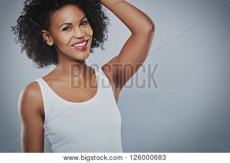 Beautiful Woman With Hand Up Toward Head