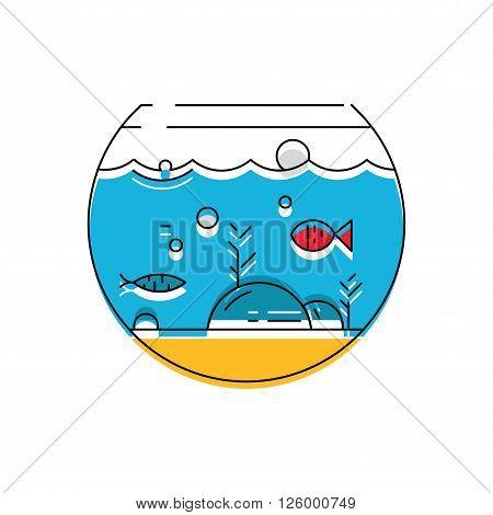 Aquarium icon. Colorful fish in the aquarium. Vector illustration.