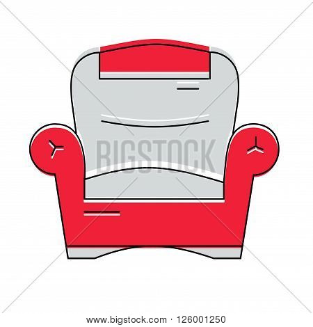 Red comfortable armchair logo or icon, vector illustration.
