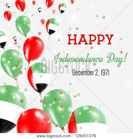 United Arab Emirates Independence Day Greeting Card. Flying Balloons In United Arab Emirates Nationa