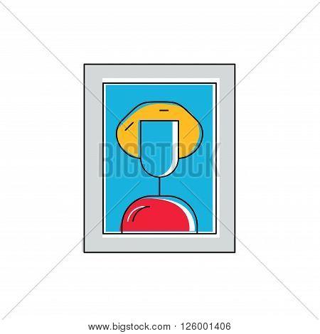 Fine art concept, painting icon, art logo, framed portrait of woman