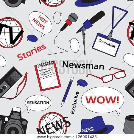 Pattern with journalism icons. Mass media and press conference. Journalism concept