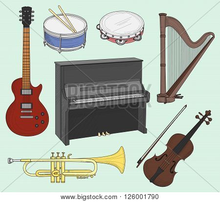 Musical instruments set. Big collection of vector music instruments. Vector illustration, EPS 10