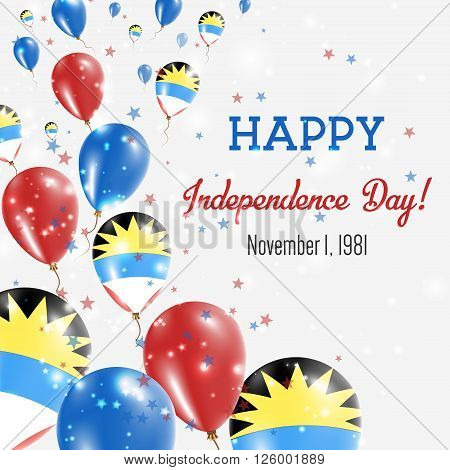 Antigua And Barbuda Independence Day Greeting Card. Flying Balloons In Antigua And Barbuda National