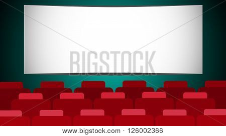 Empty Cinema Hall Screen With Copy Space Flat Vector Illustration