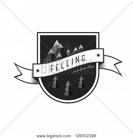 Logo sawmill service. Vintage sawmill logo with rocks, trees. Lumbering