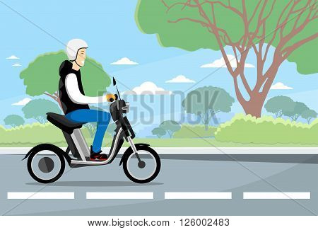 Man Ride Moped Electric Scooter, Motorcycle Wearing Hemlet Nature Background Flat Vector Illustration