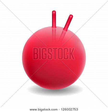 Vector illustration red ball for fitness. Ball with handle. Red fitball isolated on white background.