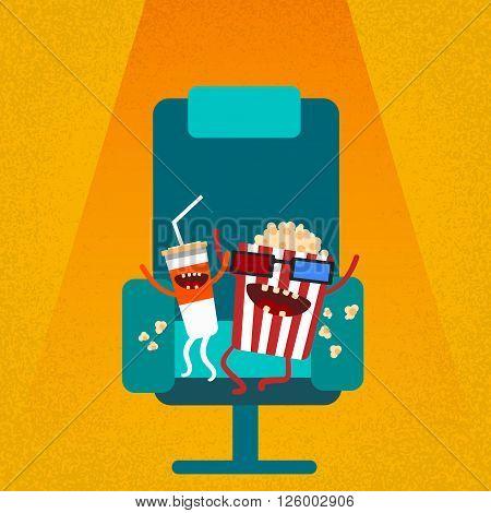 Cinema Chair Film Movie Seat Cartoon Cola Popcorn Flat Vector Illustration