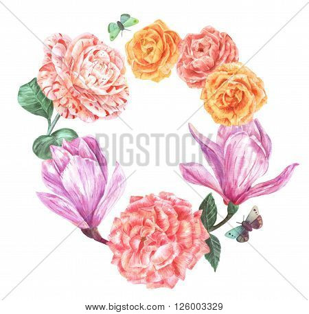 A watercolor wreath made up by toned flowers (roses magnolias and a camellia) and butterflies hand painted on white background in the style of vintage botanical art with a place for text
