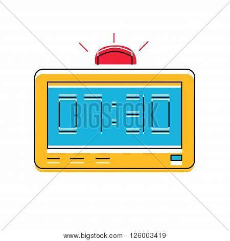 Electronic Alarm Clock Icon, line style vector.
