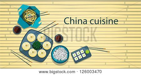 Chinese Food Traditional Asian Cuisine Bamboo Background Flat Vector Illustration