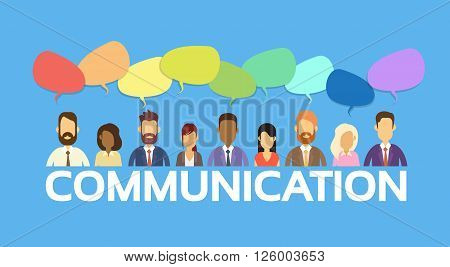 Business People Group Chat Bubble Communication Social Network Flat Design Vector Illustration