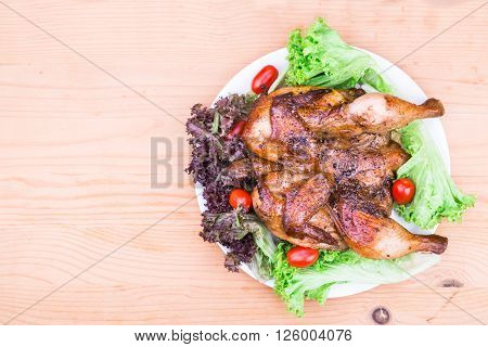 Juicy Grilled Roast Chicken With Herb, Salad And Tomato Garnish