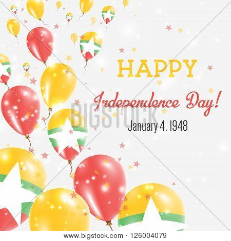 Myanmar Independence Day Greeting Card. Flying Balloons In Myanmar National Colors. Happy Independen