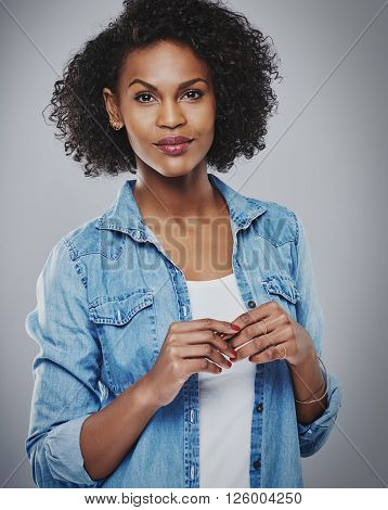 Calm Woman Wearing Red Nail Polish On Gray