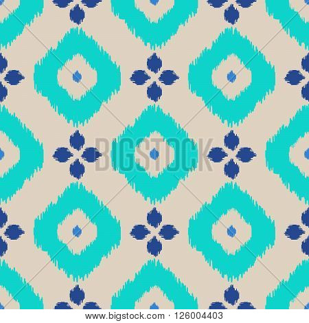 Ikat geometric seamless pattern. Turquoise color collection. Indonesian textile fabric tie-dye technique inspiration. Rhombus and drop shapes.