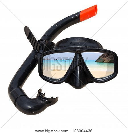 The beach landscape is reflected in diving mask and snorkel on the beach, Diving mask idea, Diving mask concept, Diving mask isolated, Diving mask background, Diving mask glass view ocean.