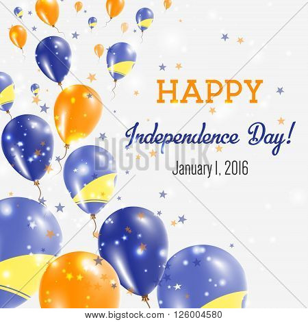 Tokelau Independence Day Greeting Card. Flying Balloons In Tokelau National Colors. Happy Independen