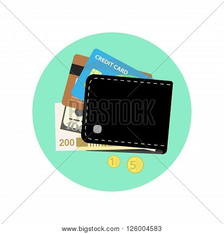 Black wallet with some money, credit cards and coin pocket. Flat style vector illustration