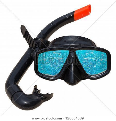 Fish in ocean is reflected in diving mask and snorkel on the beach, Diving mask idea, Diving mask concept, Diving mask isolated, Diving mask background, Diving mask glass view ocean.