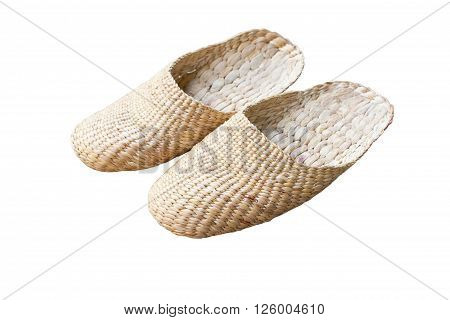 Vintage slippers handmade with bamboo on white background