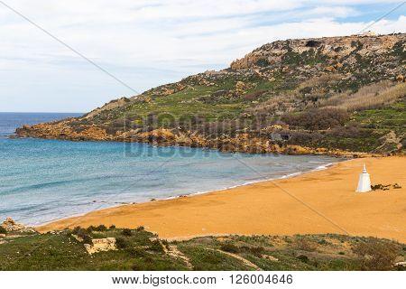 Orange sand at Ramla Bay Gozo island Malta