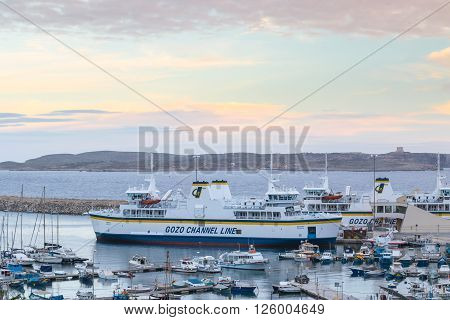 February 13 2016: Mgarr Gozo island Malta - Mgarr harbour ang Gozo channel line ferries. Ferry operates daily between Cirkewwa Malta island and Mgarr Maltese sister island of Gozo.
