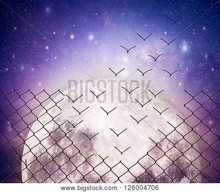 Metallic wire mesh transform into flying birds in vaacum space. Full moon universe cosmic astral background