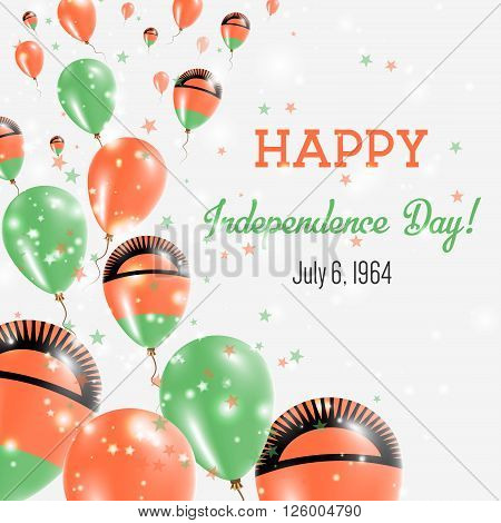 Malawi Independence Day Greeting Card. Flying Balloons In Malawi National Colors. Happy Independence