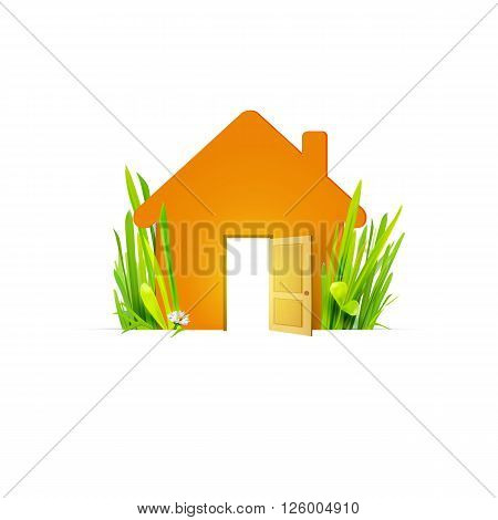 Conceptual image of orange house located at green natural grass. Eco home with open door creative concept. Trend vector illustration. Eco house symbol, sign. Ecology architecture. Eco housing banner