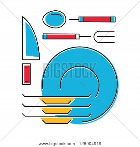Vector illustration of Tableware simple icon. Line style. Vector illustration.