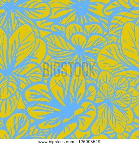 Floral background with blue and yellow flowers. Seamless pattern