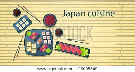 Japan Food Traditional Asian Cuisine Bamboo Background Flat Vector Illustration