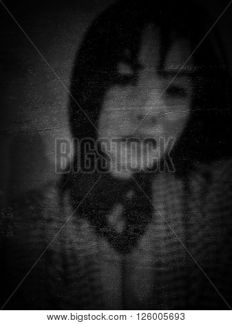 de-focuse monochrome portrait of sexy Asian woman on grungy texture old film style