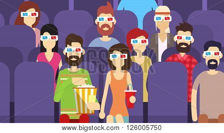 People Group Sit Watching Movie In Cinema 3d Glasses With Popcorn Cola Flat Vector Illustration