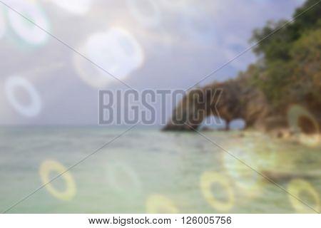 sweet dreamy photo with ring Bokeh beautiful tropical beach at Koh Kai Tarutao National Marine Park Thailand de-focused