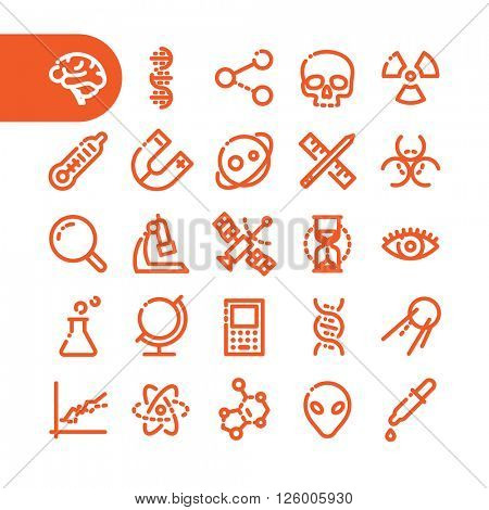 Fat Line Icon set for web and mobile. Modern minimalistic flat design elements of scientific equipment, biotechnology, genome testing, physical and chemistry materials research