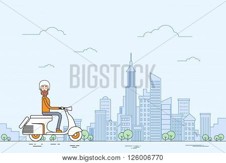 Man Ride Motorcycle Scooter Modern City View Thin Line Vector Illustration
